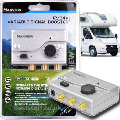 Maxview 12V and 24V Adjustable Power TV//FM Signal Booster for Caravans and Boats