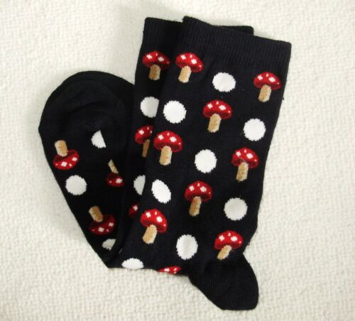 LADIES QUALITY GIFT SOCKS CIRCUS MUSHROOM SILVER HEARTS