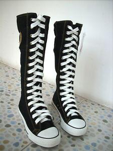 Women-Black-Punk-EMO-Rock-boots-shoe-sneaker-knee-high