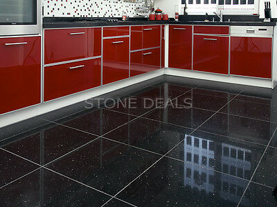 Sample of Black Quartz Sparkling Mirror Fleck Wall Floor Kitchen, Bathroom Tiles