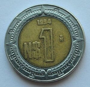 1994 Mexico 1 Peso Dollar Bi Metallic Coin Xf Ebay