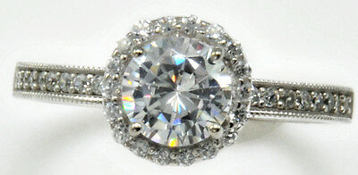 1 ct Halo Ring With Micro Set Top Russian AAAAA Quality CZ Sterling Sz 8