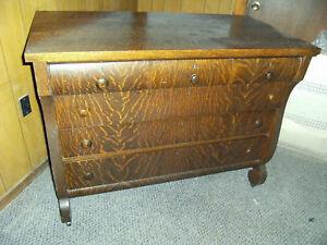 Late-1800-039-s-Quarter-Sawn-Oak-Empire-Style-Dresser