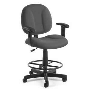 Details about gray fabric drafting stool office desk chair