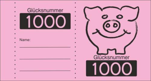 1000 Glücksnummer Wertmarken wählbar  6 F Nr.