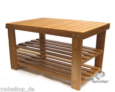 Bambus Sitzbank Schuheregal mit 2 Ablagen