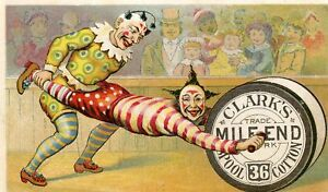 OLD-CIRCUS-CLOWN-SPOOL-THREAD-SEWING-ADVERTISE-CARD