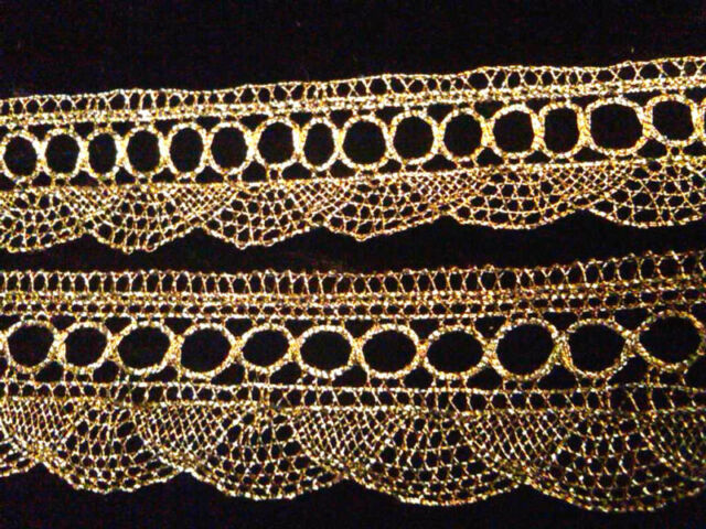 VINTAGE Metallic Gold or Silver Lace 1yd Scallop  Made in FRANCE