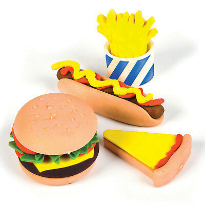 SET OF 4 FAST FOOD ERASER RUBBER STATIONERY e.g. BURGER