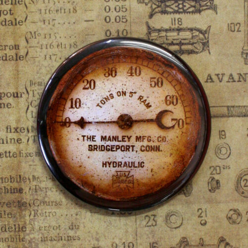 GAUGE 6 -  Round Fridge Magnet, Steampunk, 2.25""