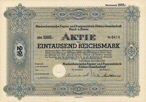 Niederrheinische Papier- und Pappenfabrik AG Neuß Aktie 1937 Neuss Rheinland NRW