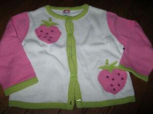 Euc Vintage Gymboree Strawberry Fields Pink Green Sweater