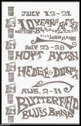 Ten Years After Paul Butterfield Spirit Hoyt Axton Fillmore Era Concert Handbill