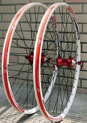 ALEX DP20 Novatec HUB Disc wheelset WHEEL SET RED WHITE 26 inch MTB HAND BUILD