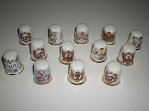 Vtg Old Set 13 pc Finsbury England Royalty Bone China Thimbles w/ Jan Porcelain