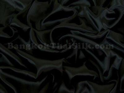"""10 YDS BLACK SATIN FABRIC 60""""W FOR DRESS DRAPE TABLE CLOTH SHEET BOW CHAIR COVER"""