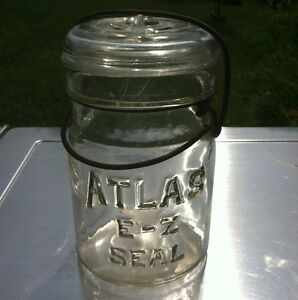 Rare Jar Atlas E-Z Seal Yellow Tint