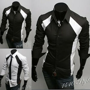 NWT-Mens-Casual-Slim-fit-Stylish-Dress-Shirt-Black-White-Colors-h117