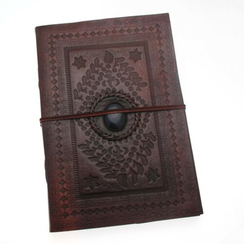 Indra Fair Trade Handmade Hefty Embossed Stoned Leather Journal 2nd Quality