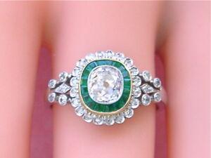 ANTIQUE-EDWARDIAN-1ctw-CUSHION-DIAMOND-20ctw-EMERALD-RING-1920