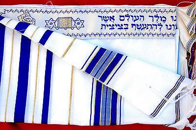 "Kosher Tallit Talis Prayer Shawl acrylic 18""X72"" Made in Israel blue and gold"
