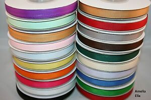 25m-Reel-Grosgrain-Ribbon-10mm-3-8-width-Various-Colours