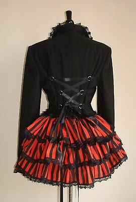 gothic corset jacket size 10 black red stripe bustle riding steampunk burlesque