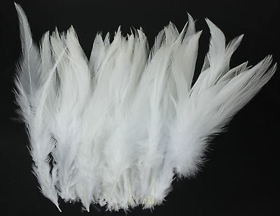 100 x  Rooster Feather Mainly White Feather 4'' - 6''