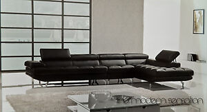Modern Euro Leather Sectional Sofa Chaise Chair Set With Adjustable Headrest Ebay
