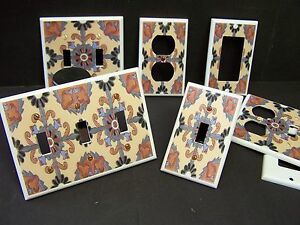 MEXICAN-TALAVERA-TILE-STYLE-4-LIGHT-SWITCH-COVER-PLATE-PLASTIC-PLATES
