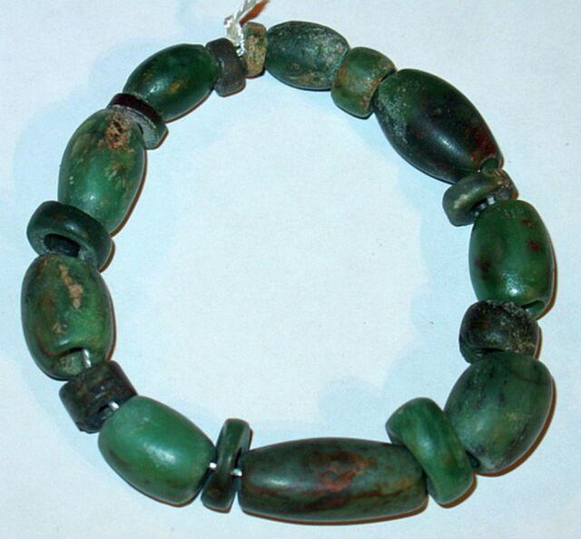 19 Ancient Green Serpentine Stone Beads, Mauritania