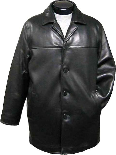 men's black lambskin leather car coat, button front, dressy leather jacket