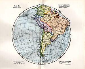 1889 VICTORIAN CIRCULAR MAP ~ SOUTH AMERICA BRAZIL S.W. ATLANTIC S.E. PACIFIC