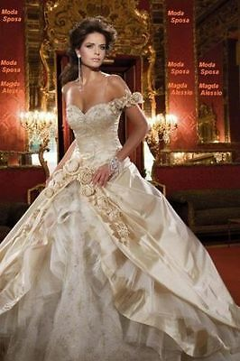New Custom Champagne Wedding Dress Bridal Gown Size:6/8/10/12/14/16 Petticoat