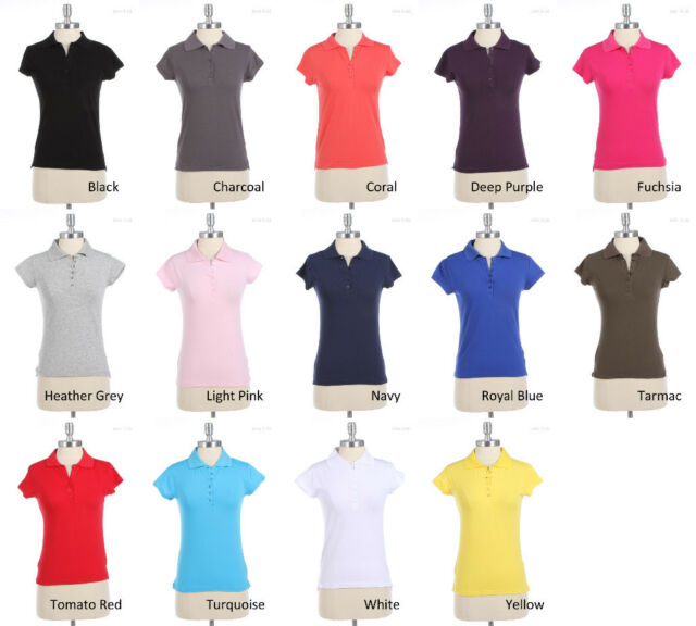 HALF BUTTON POLO SHORT SLEEVE TOP Various Size and Colors