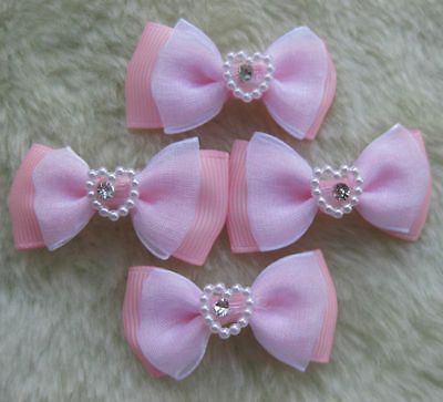 30 Ribbon/Organza bow w/ Rhinestone Appliques-Pink E114