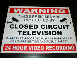 warning closed circuit tv 24 hour video recording a4. Black Bedroom Furniture Sets. Home Design Ideas