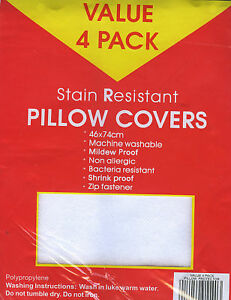 4-x-STAIN-RESISTANT-Standard-Pillow-Protectors-NEW