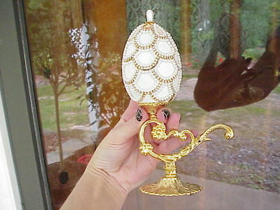 REAL Decorated Goose Egg Holiday Christmas Pinecone Trinket/Jewelry Box