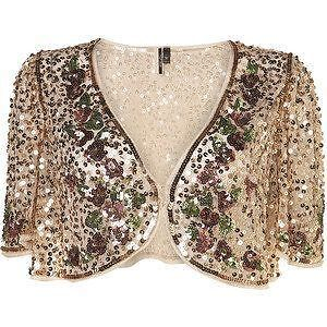 Topshop-Gold-Sequin-Vtg-Floral-Shrug-Bolero-Crop-Cape-Dress-Jacket-12-14-40-US8