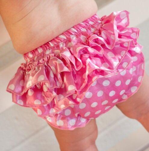 Pink Dot Satin Ruffle Diaper Cover 0-6 or 6-24 Mon