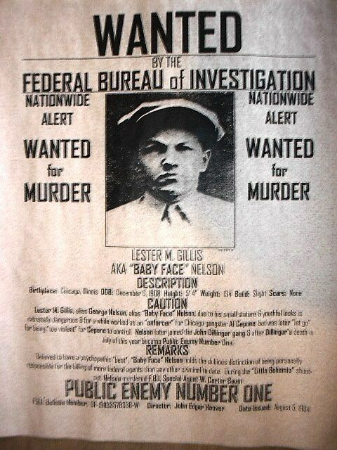 """(104) GANGSTER BABY FACE NELSON WANTED REWARD DEPRESSION REPRINT 11""""X14"""" POSTER"""