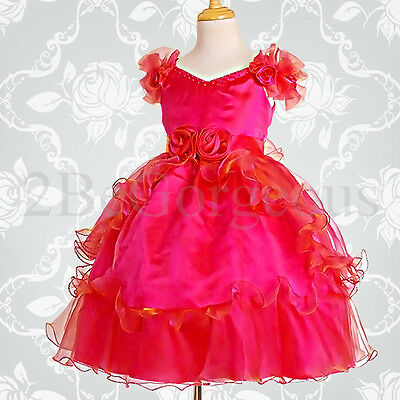 Ruffle Flower Girl Bridesmaid Girl Dresses Party Occasion Birthday Age 2-10y 068