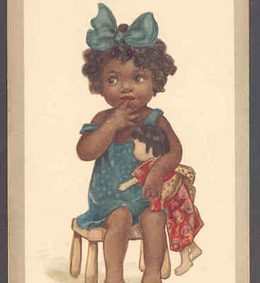 "SCARCE....""SHY""  BLACK,NEGRO GIRL,ORIENTALTOY DOLL,,A.M. COOK,VINTAGE POSTCARD"