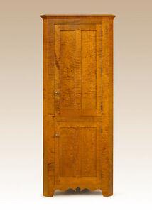 Corner Cabinet Tiger Maple Wood Cupboard Dining Room