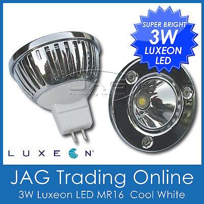 12V 3W LUXEON LED MR16 WHITE DOWNLIGHT GLOBE - Ceiling/Lamp/Caravan/Down Light