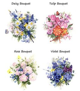 4-Flower-Daisy-Rose-Violet-Tulip-Bouquet-Butterfly-Waterslide-Ceramic-Decals