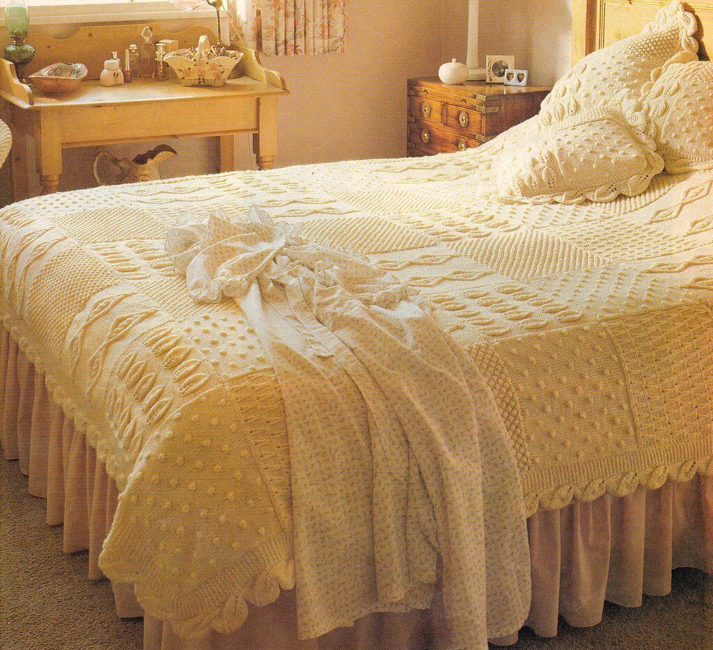 Knitting Pattern Heirloom Aran Bedspread & Cushions- Knit in Squares ...