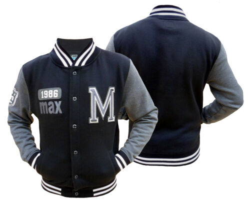 Da Uomo Varsity Baseball Giacca In Pile Top MAX Edition MSW 52 NERO LARGE