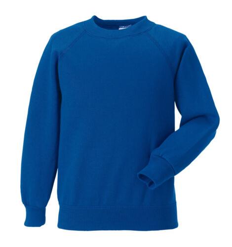 Russell Jerzees 762B Plain BLUE Kids Childs School Jumper Sweatshirt No Logo